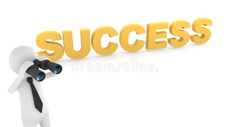 Bedrijfs mens die succes zoekt stock illustratie