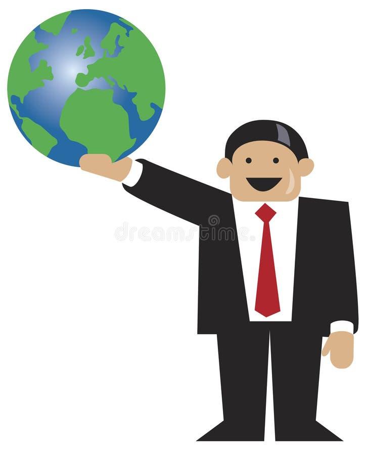 Bedrijfs mens die zich met wereldbol bevindt vector illustratie