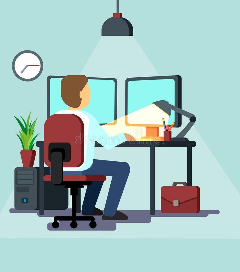 Bedrijfs Mens die in Zijn Bureau werkt royalty-vrije illustratie