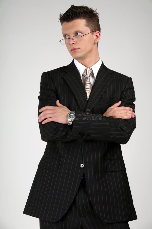 Bedrijfs mens in een zwart kostuum. stock afbeeldingen
