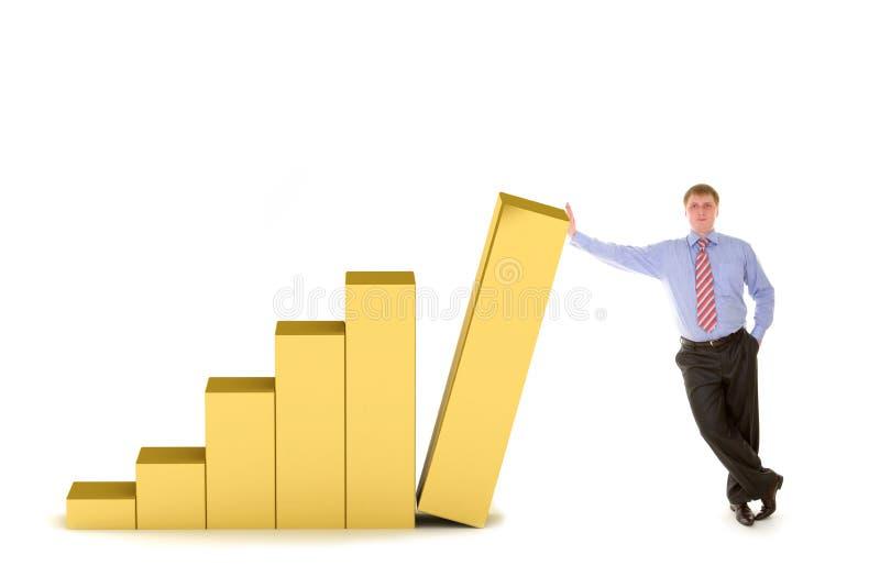 Bedrijfs mens en diagram van succes royalty-vrije illustratie