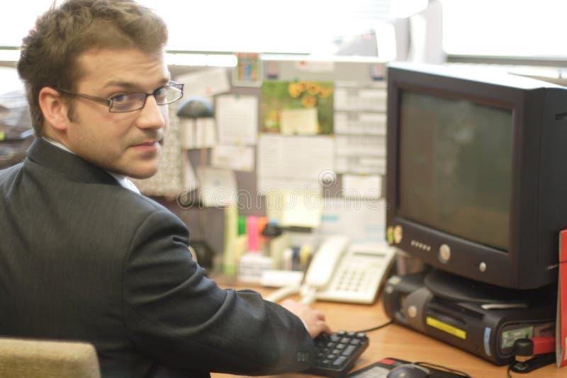 Bedrijfs mens en werkstation royalty-vrije stock afbeelding