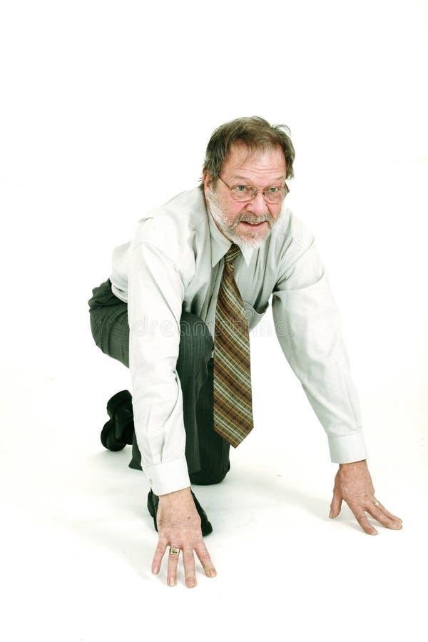 Bedrijfs mens klaar te lopen stock fotografie