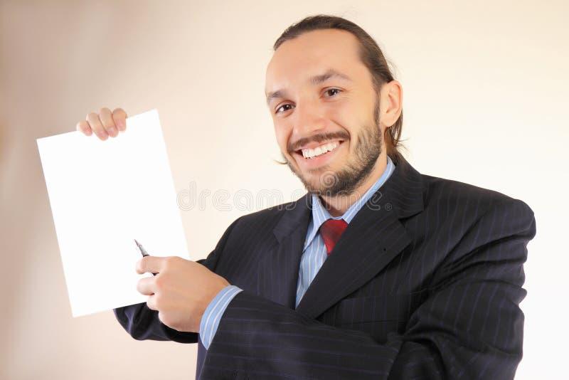 Bedrijfs mens met een leeg wit royalty-vrije stock afbeelding