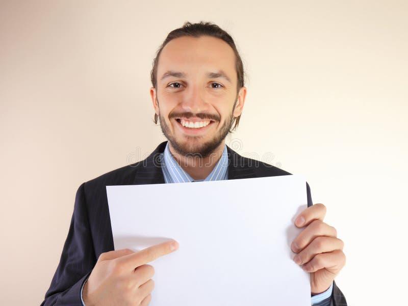 Bedrijfs mens met een lege witte kaart stock afbeelding
