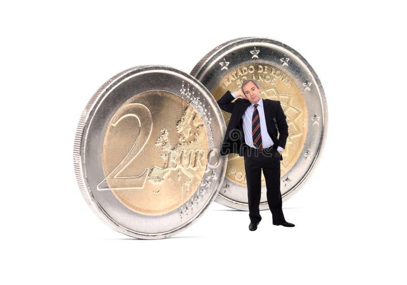 Bedrijfs Mens met euromuntstukken royalty-vrije stock foto