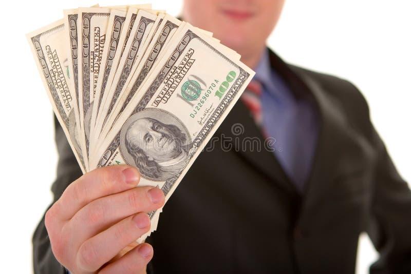 Bedrijfs mens met geld stock foto's