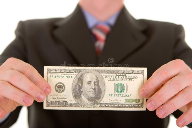 Bedrijfs mens met geld stock foto