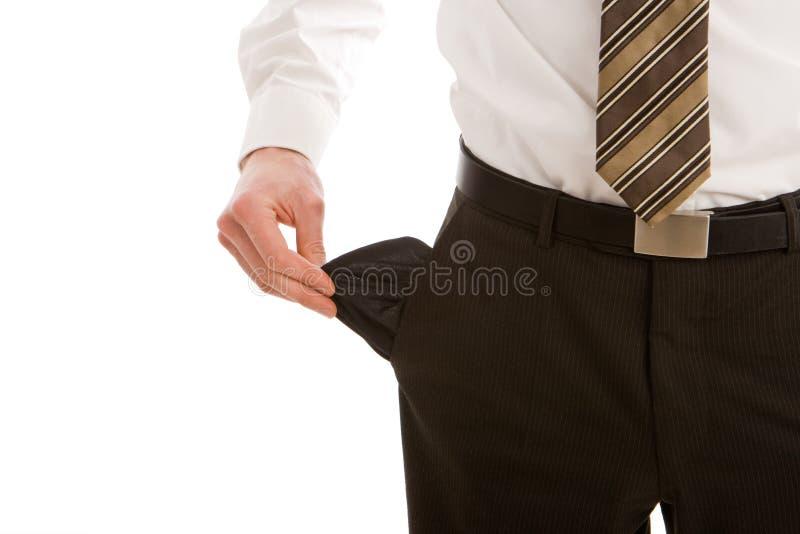 Bedrijfs mens met lege zakken royalty-vrije stock foto's