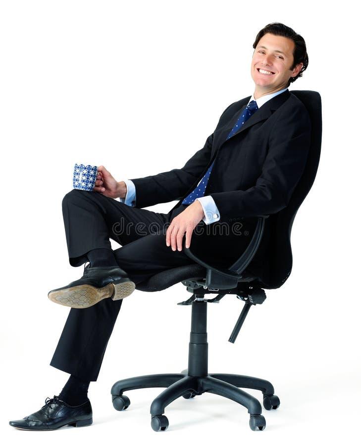 Bedrijfs mens met ochtendkoffie royalty-vrije stock fotografie