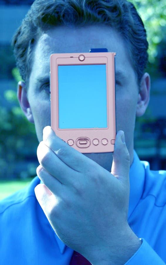 Download Bedrijfs Mens Met Palm Proef Stock Afbeelding - Afbeelding: 34115