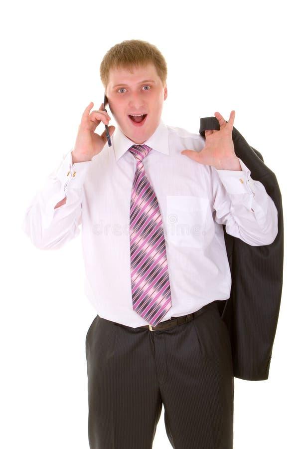 Bedrijfs mens met telefoon stock foto's