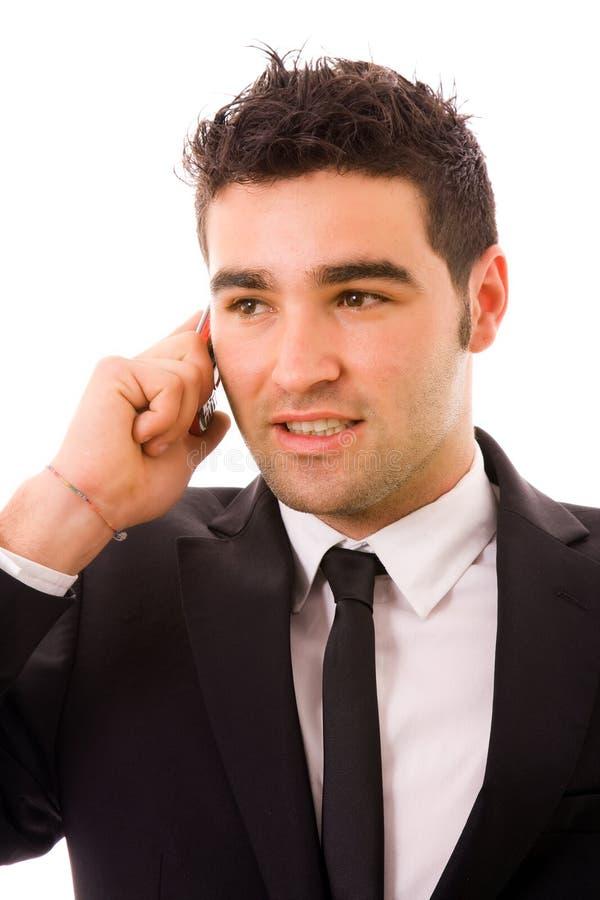 Bedrijfs mens op de telefoon, stock foto