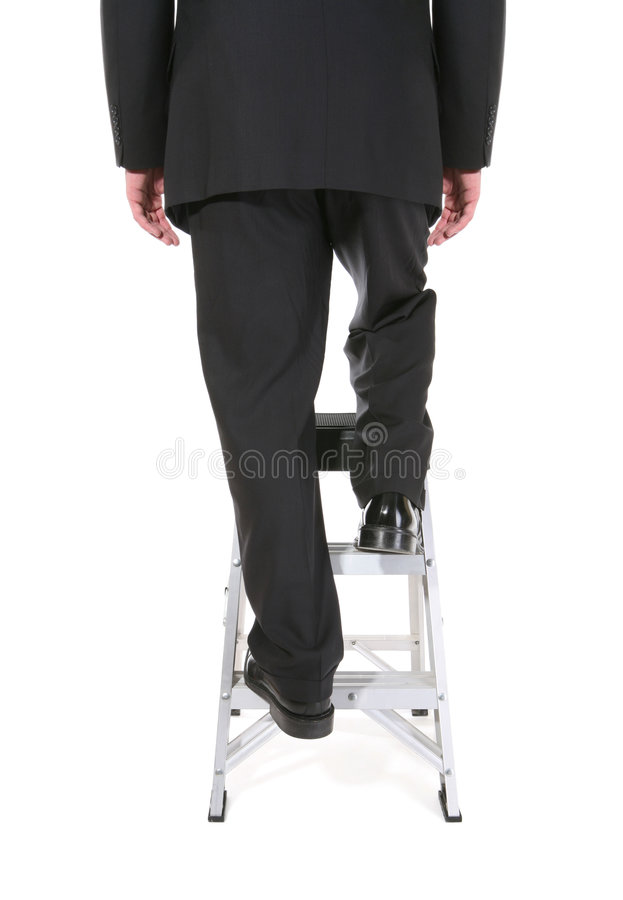 Bedrijfs Mens op Ladder royalty-vrije stock afbeeldingen