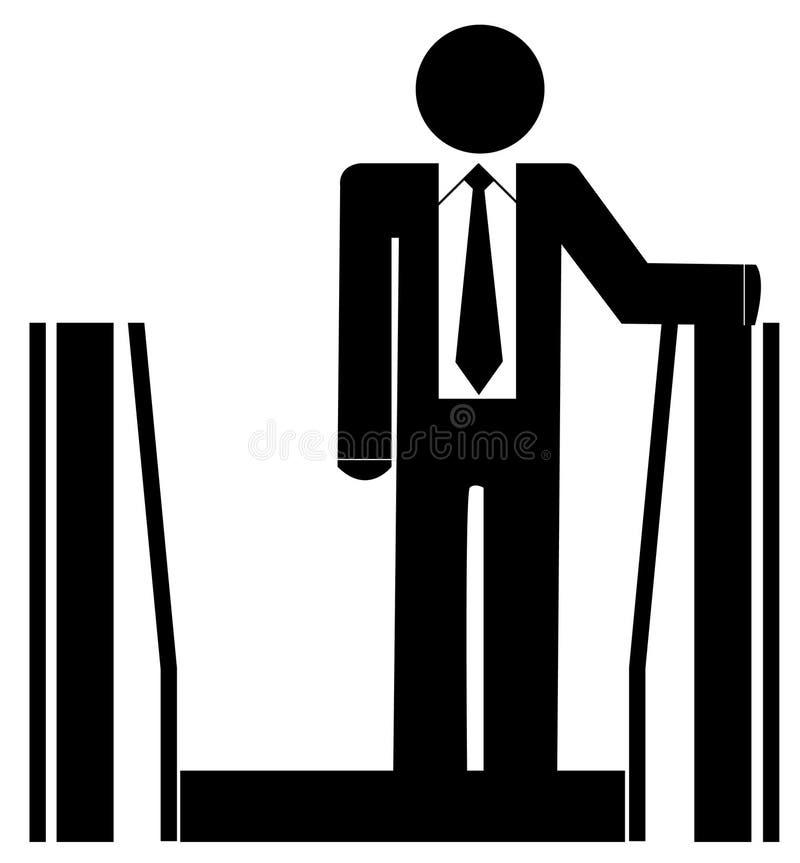Bedrijfs mens op roltrap vector illustratie