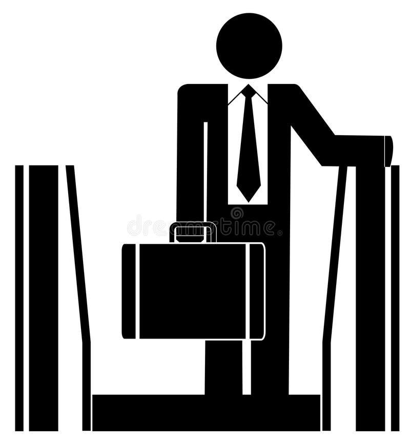 Bedrijfs mens op roltrap stock illustratie