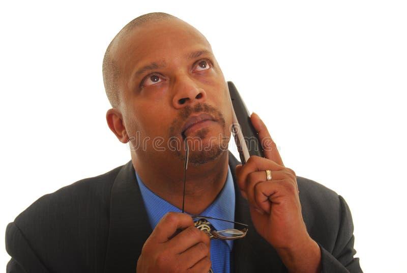 Bedrijfs mens op telefoon royalty-vrije stock fotografie