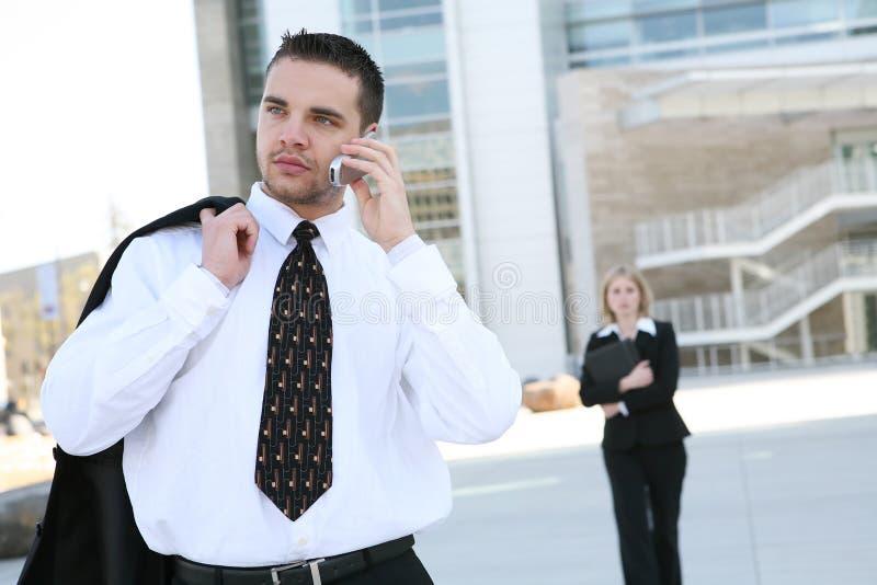 Bedrijfs Mens op Telefoon stock foto's