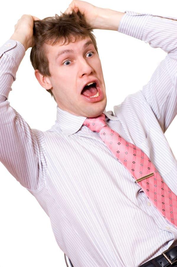 Bedrijfs mens in paniek royalty-vrije stock foto
