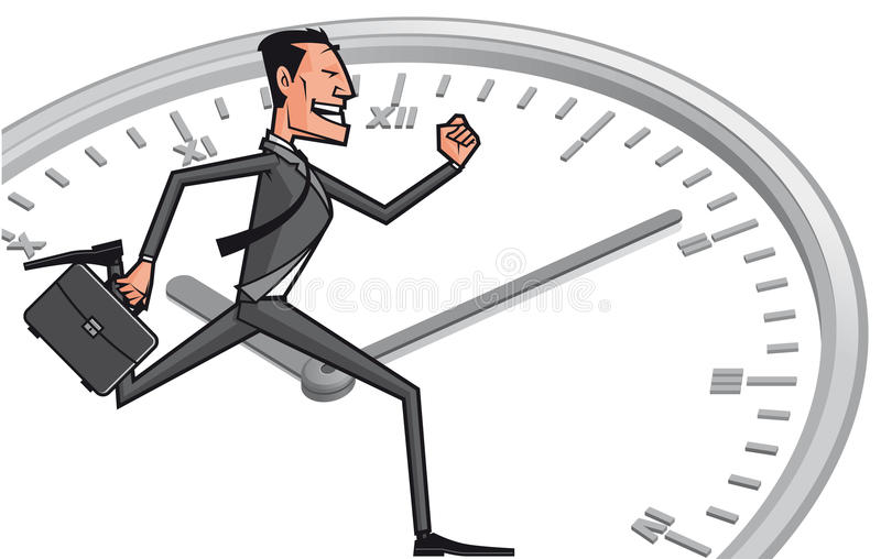 Bedrijfs mens tegen de tijd vector illustratie