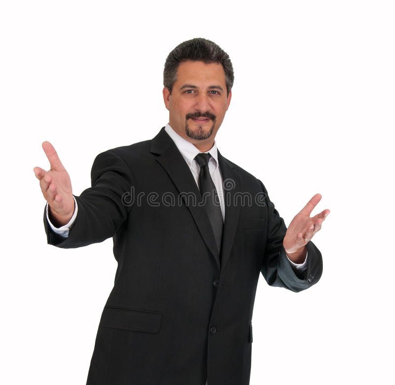 Bedrijfs Mens Welkom Hello stock afbeelding