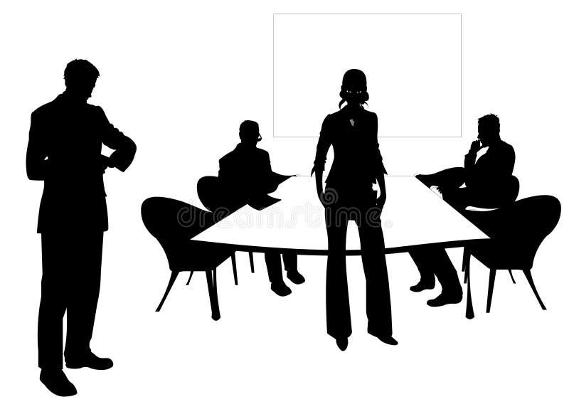 Bedrijfs mensen bij de vergaderingsruimte vector illustratie