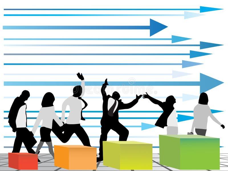 Bedrijfs mensen die één richting kiezen vector illustratie