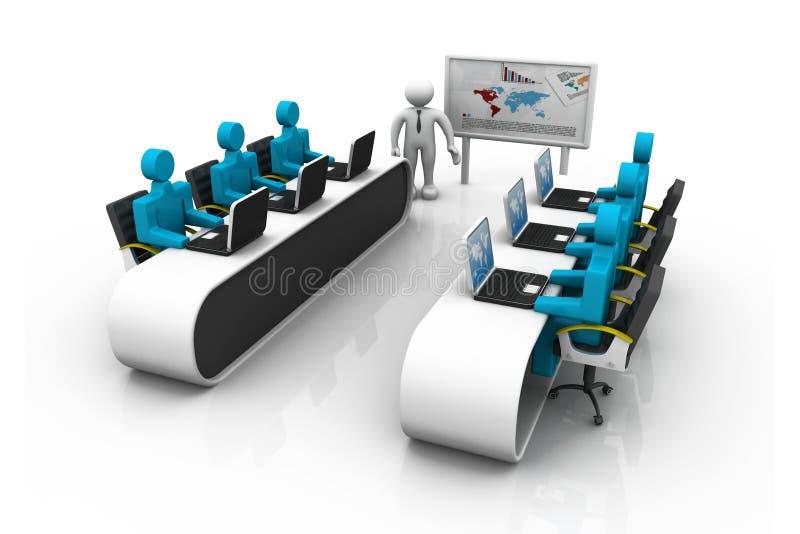 Bedrijfs mensen die in bureau samenwerken stock illustratie