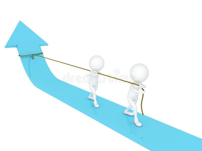 Bedrijfs mensen die een kabel trekken stock illustratie