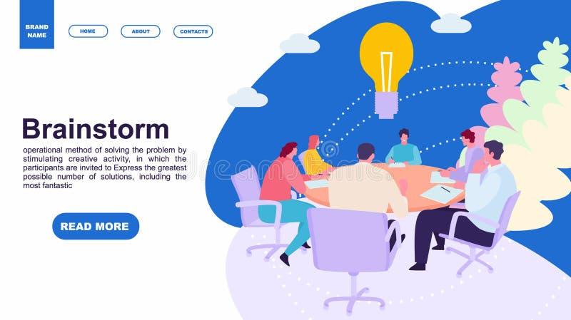 Bedrijfs mensen die op kantoor samenkomen Hersenen en flitsen Landingspaginamalplaatje van familie webpaginaontwerp en mobiele we stock illustratie