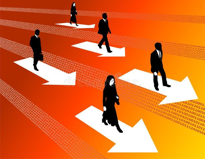 Bedrijfs Mensen die zich vooruit bewegen vector illustratie