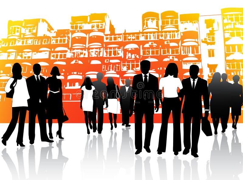 Bedrijfs mensen en gebouwen vector illustratie