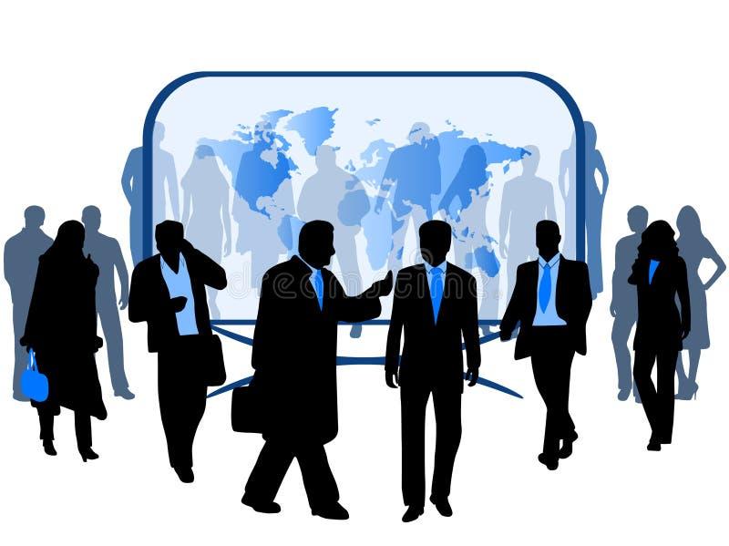 Bedrijfs mensen en kaart vector illustratie