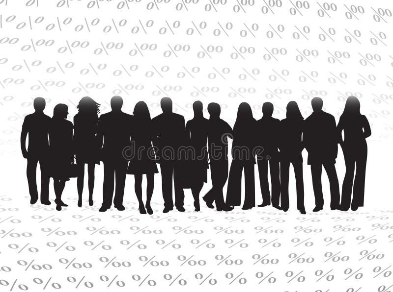 Bedrijfs mensen en percenten stock illustratie
