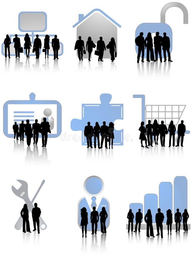 Bedrijfs mensen en pictogrammen stock illustratie