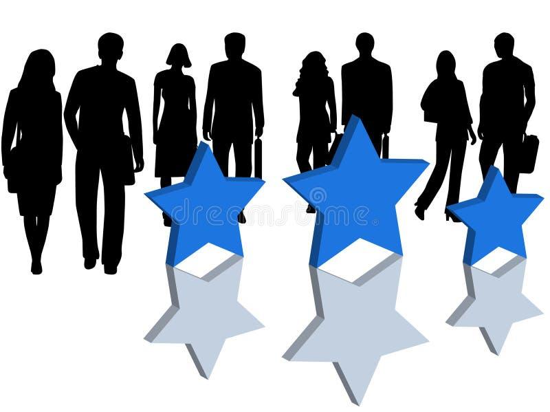 Bedrijfs mensen en sterren stock illustratie