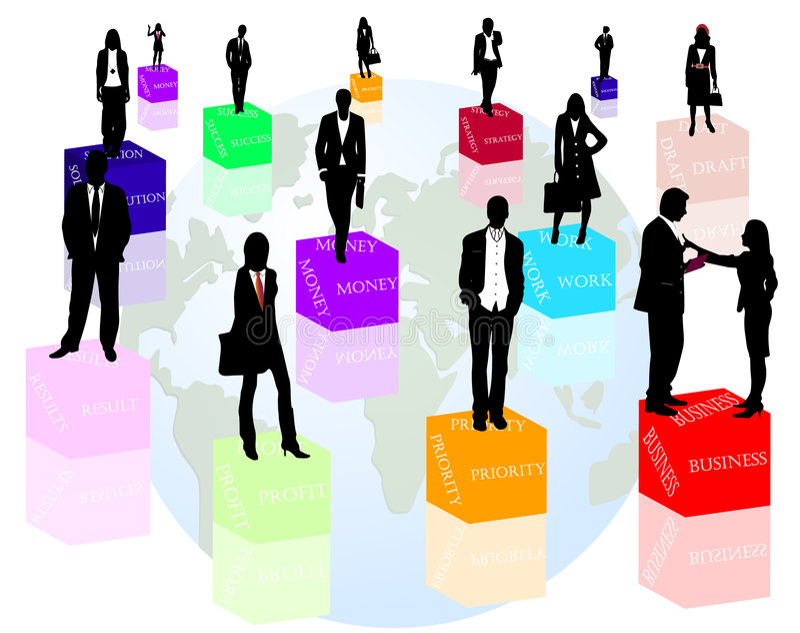 Bedrijfs mensen en woorden vector illustratie