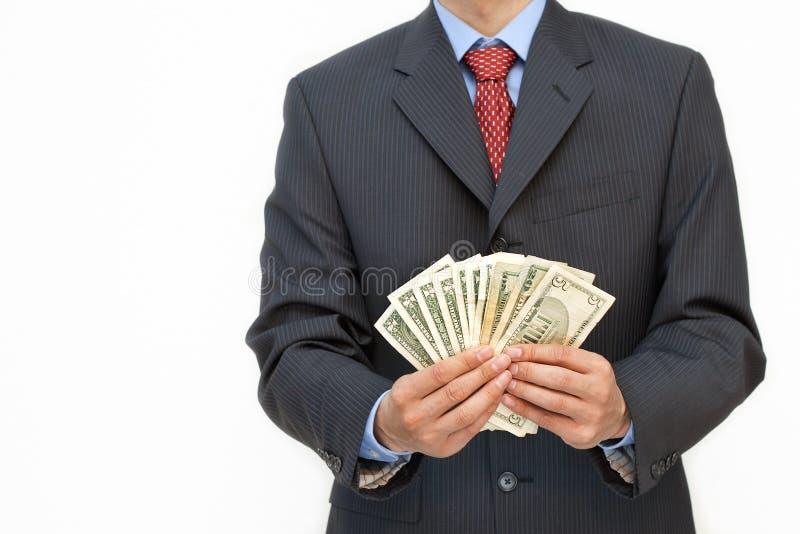 Bedrijfs mensen holidng geld stock foto
