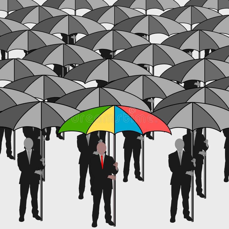 Bedrijfs mensen met paraplu royalty-vrije illustratie