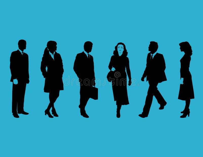 Bedrijfs mensen op blauw vector illustratie