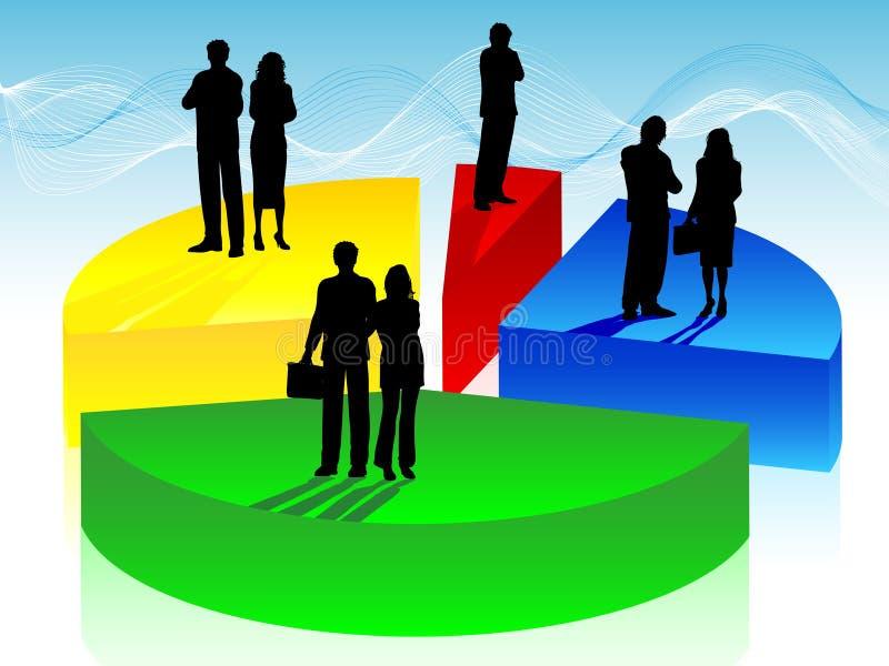 Bedrijfs mensen op cirkeldiagram royalty-vrije illustratie