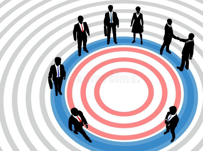 Bedrijfs mensen op gerichte marketing cirkel stock illustratie