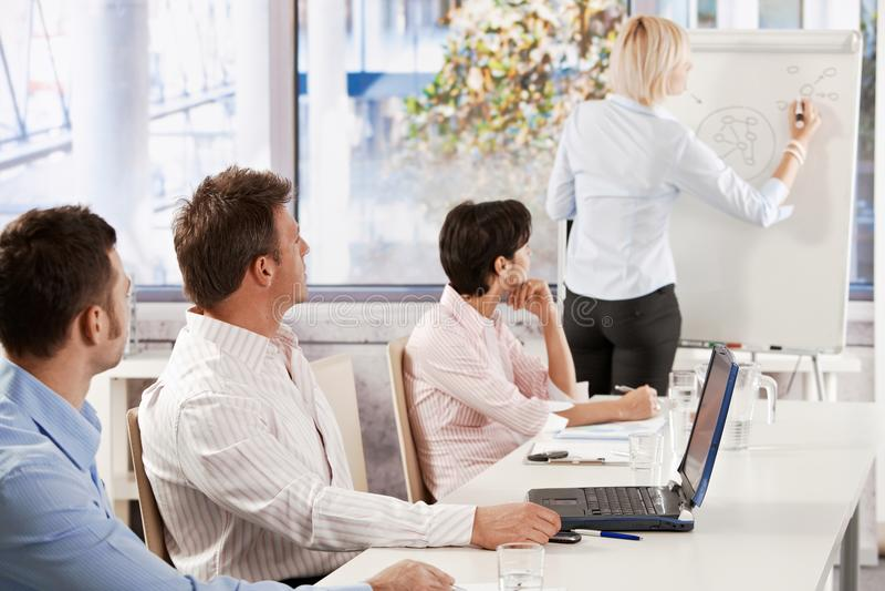 Bedrijfs mensen op presentatie stock foto