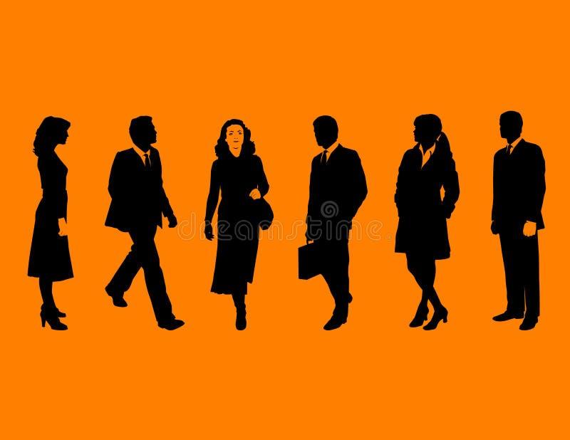 Bedrijfs mensen op sinaasappel royalty-vrije illustratie