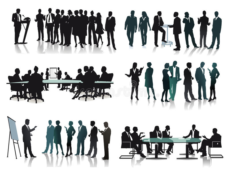 Bedrijfs mensen op vergadering royalty-vrije illustratie