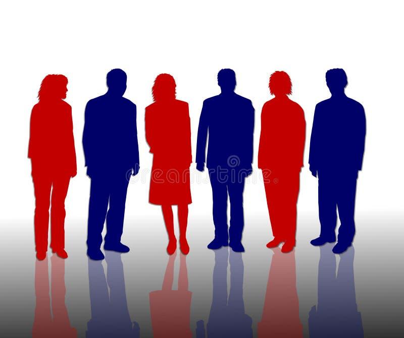 Bedrijfs mensen in rood & blauw vector illustratie