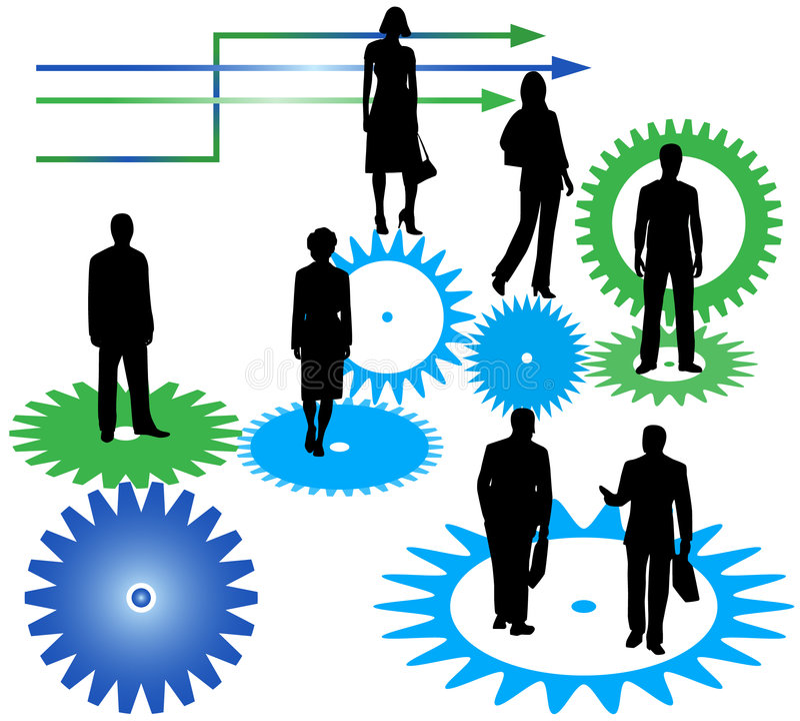 Bedrijfs mensen, tandraderen en pijlen royalty-vrije illustratie