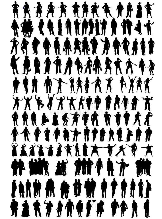 Bedrijfs mensen, verschillende silhouetten stock illustratie