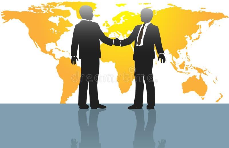 Bedrijfs mensenhanddruk op wereldkaart royalty-vrije illustratie
