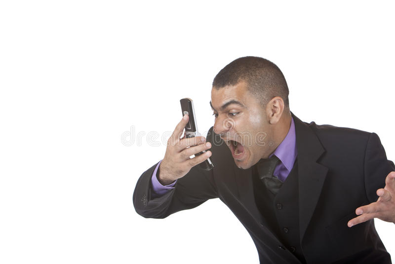 Bedrijfs mensenschreeuwen in telefoon wegens spanning stock afbeeldingen